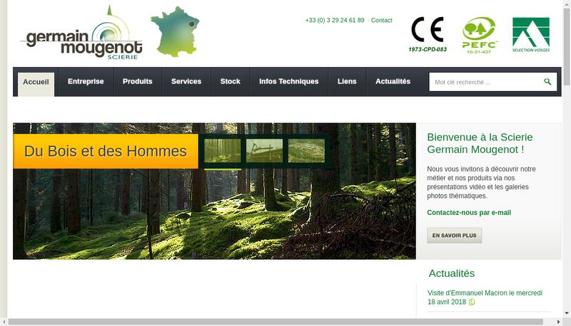 Capture d'écran du site de Scierie Germain Mougenot