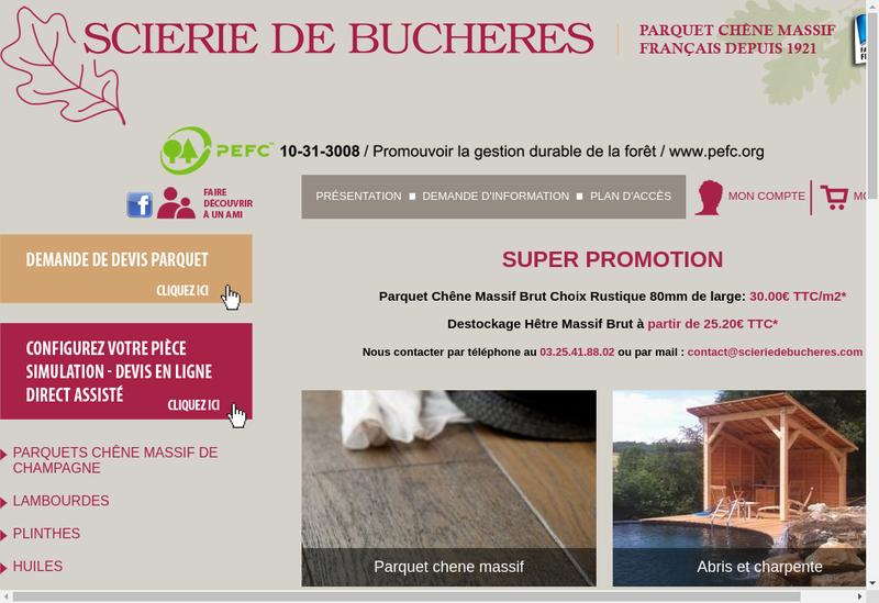 Capture d'écran du site de Scierie de Bucheres