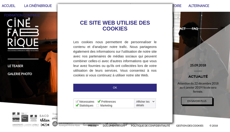 Capture d'écran du site de La Cine Fabrique - Ecole Nationale de Cinema Multi Media en Rhone-Alpes