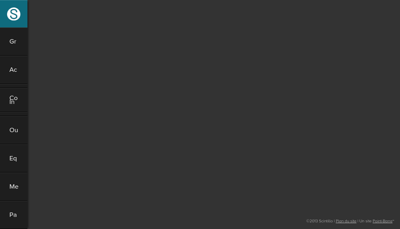 Capture d'écran du site de Scintillo