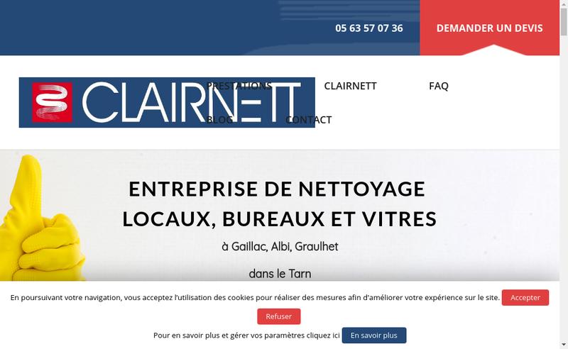 Capture d'écran du site de Clairnett