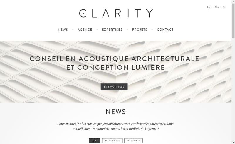Capture d'écran du site de Clarity Studio