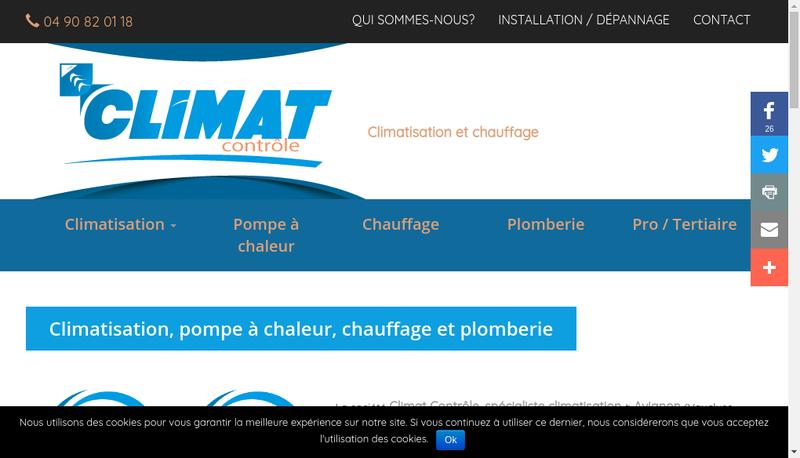 Capture d'écran du site de Climat Controle