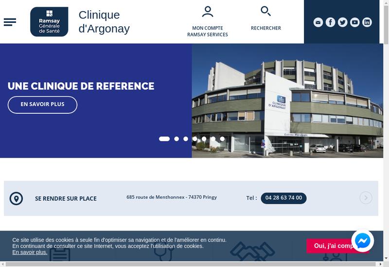 Capture d'écran du site de Clinique d'Argonay