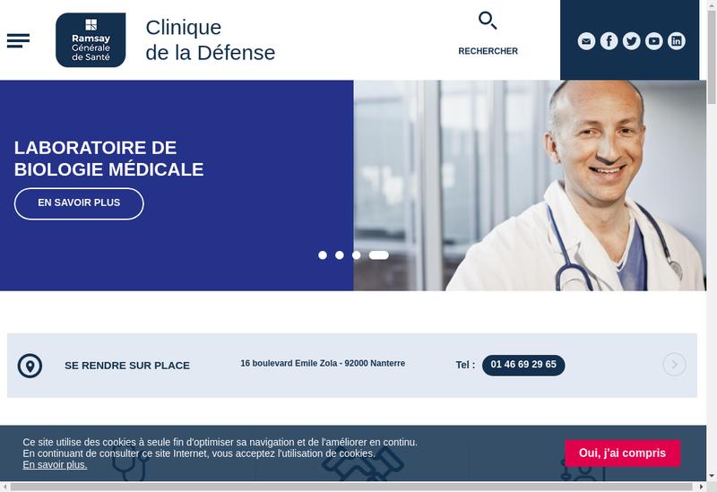 Capture d'écran du site de Clinique de la Defense