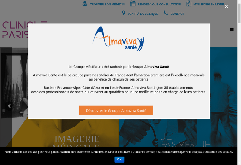 Capture d'écran du site de Clinique Paris Lilas