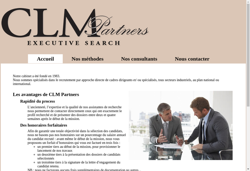 Capture d'écran du site de Clm Partners