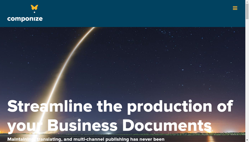 Capture d'écran du site de Componize Software