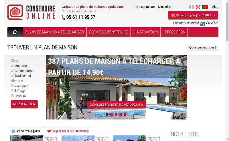 Capture d'écran du site de Construire Online