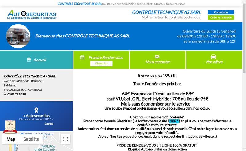 Capture d'écran du site de Controle Technique As