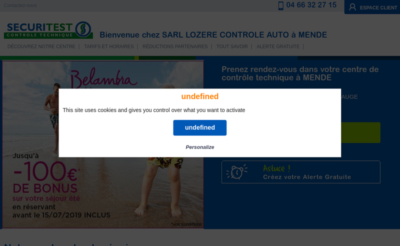 Capture d'écran du site de Lozere Controle Auto