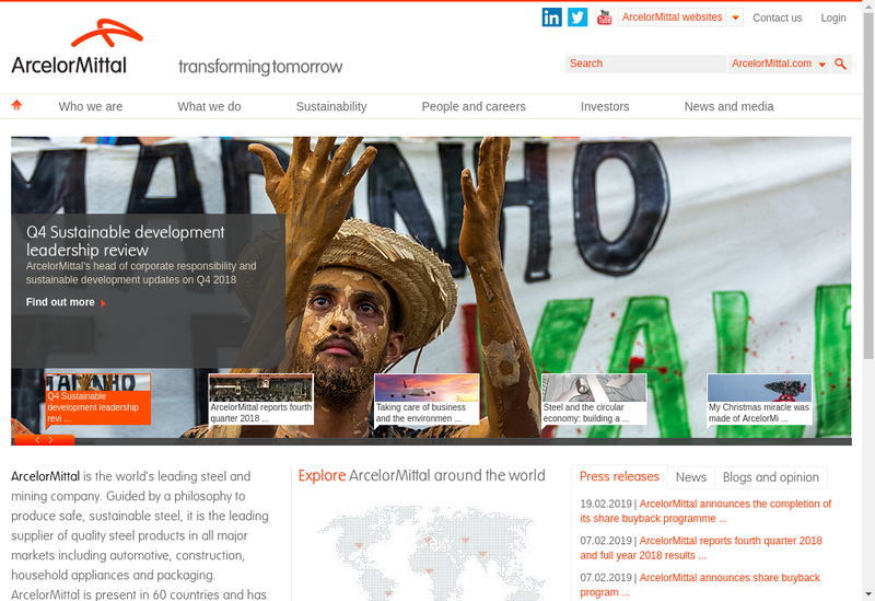 Capture d'écran du site de Arcelormittal Gandrange