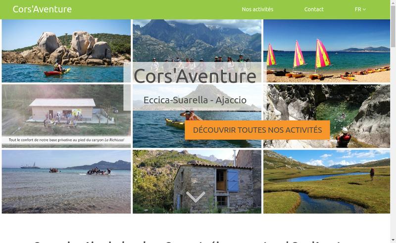 Capture d'écran du site de Cors'Aventure