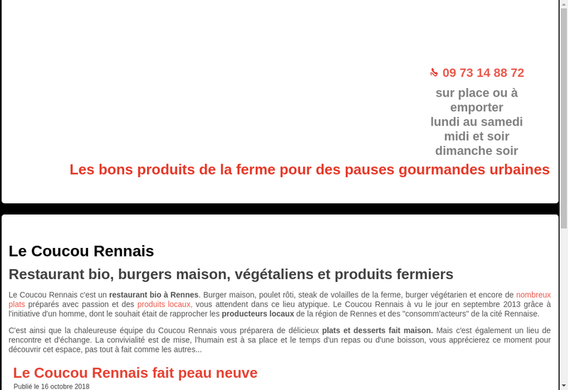 Capture d'écran du site de Le Coucou Rennais