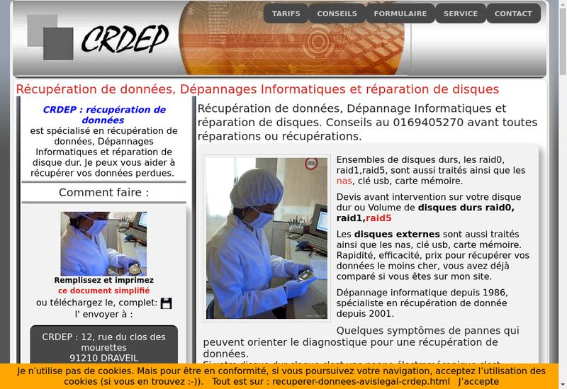 Capture d'écran du site de Crdep