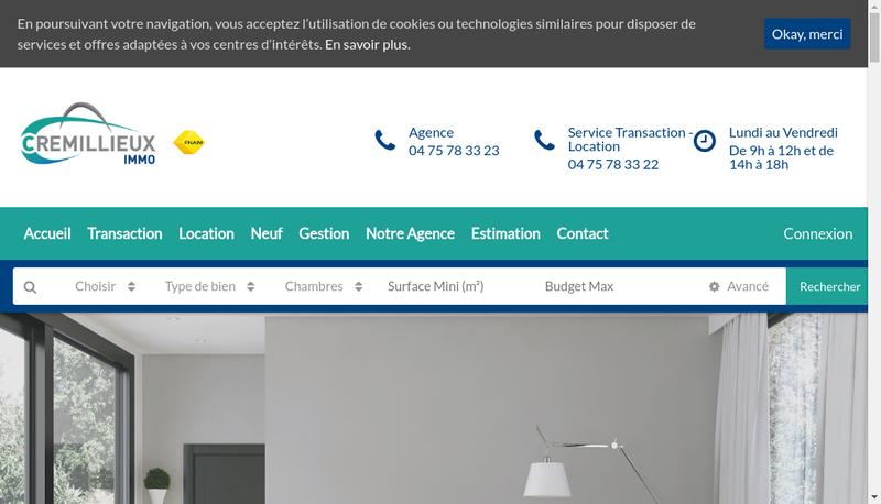 Capture d'écran du site de Cremillieux Immo