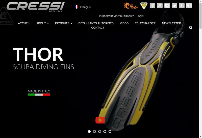 Capture d'écran du site de Cressi Sub France