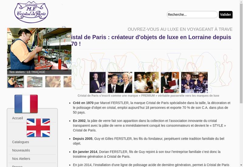 Capture d'écran du site de Cristalleries de Lorraine