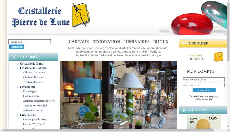 Capture d'écran du site de Cristallerie Pierre de Lune