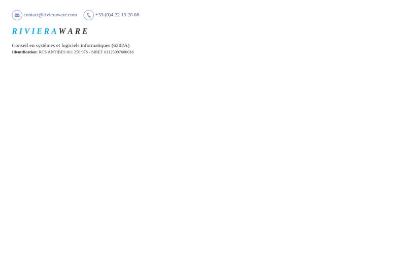 Capture d'écran du site de Rivieraware