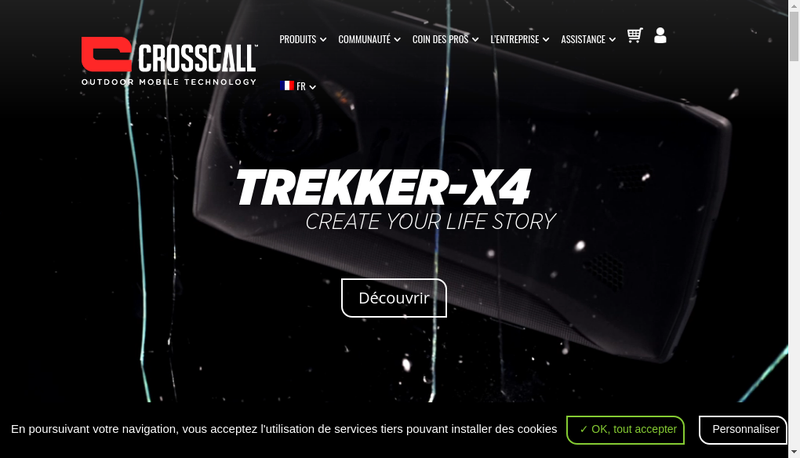 Capture d'écran du site de Crosscall
