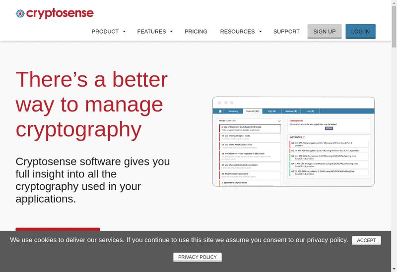 Capture d'écran du site de Cryptosense
