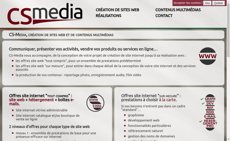 Capture d'écran du site de Cs Media