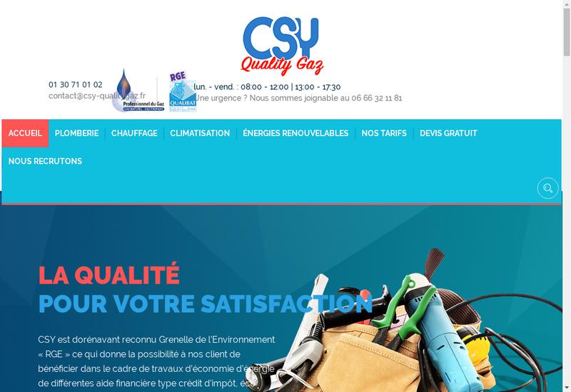 Capture d'écran du site de Csy Quality Gaz