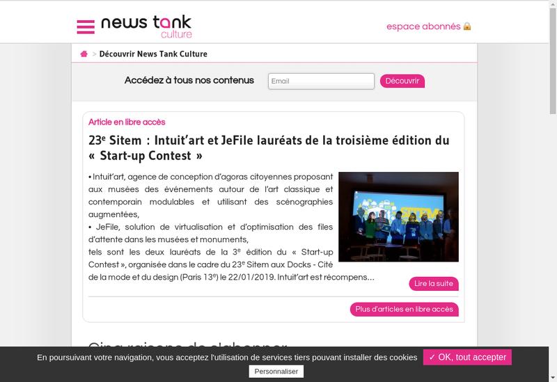 Capture d'écran du site de News Tank Culture