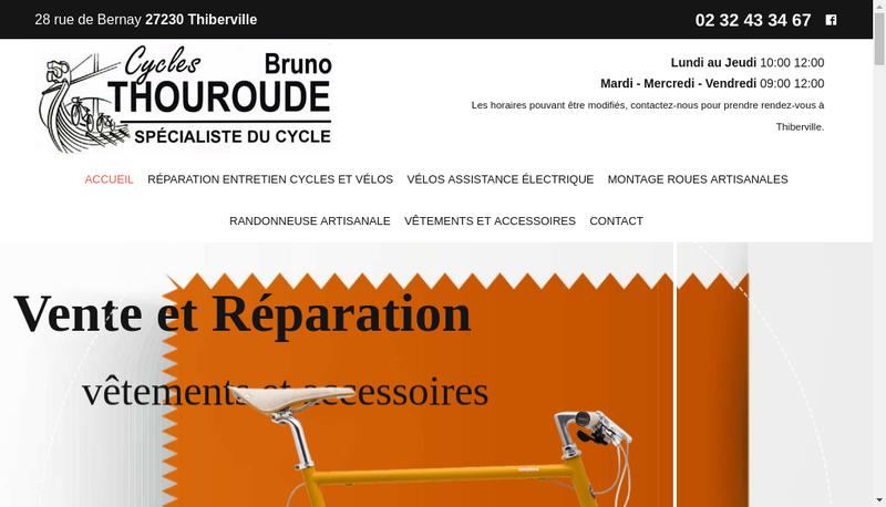 Capture d'écran du site de Cycles Bruno Thouroude