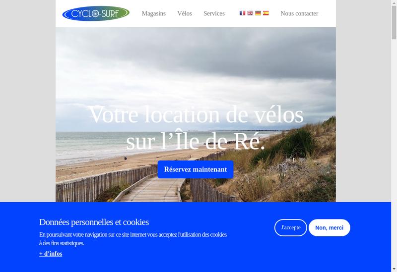 Capture d'écran du site de Cyclo-Surf