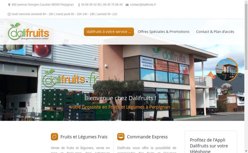 Capture d'écran du site de Dali Fruits