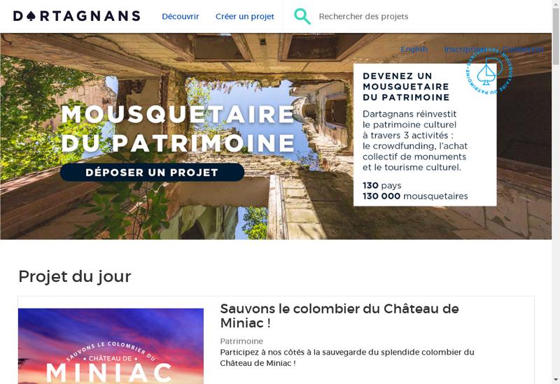 Capture d'écran du site de Dartagnans