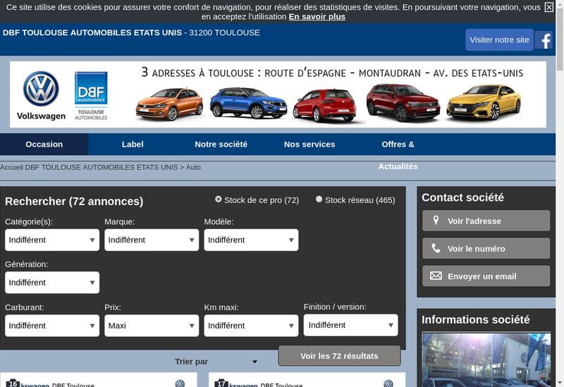 Capture d'écran du site de Dbf Toulouse Automobiles