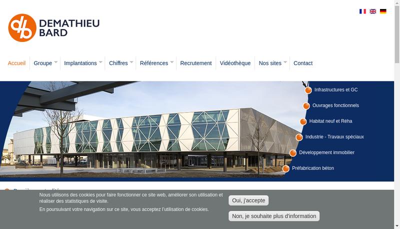 Capture d'écran du site de Demathieu & Bard Groupe