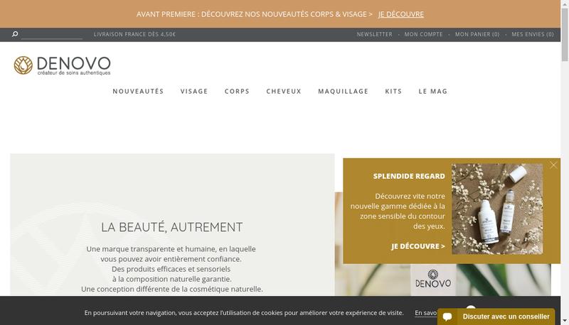 Capture d'écran du site de Denovo
