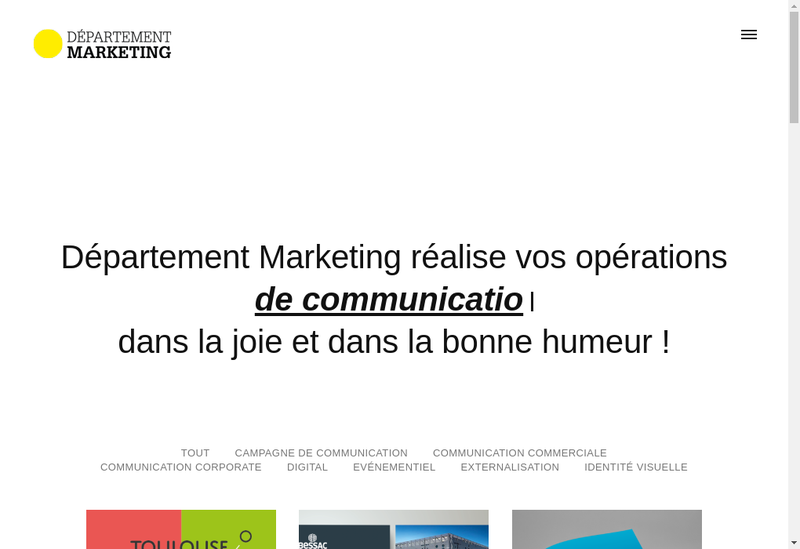 Capture d'écran du site de Departement Marketing