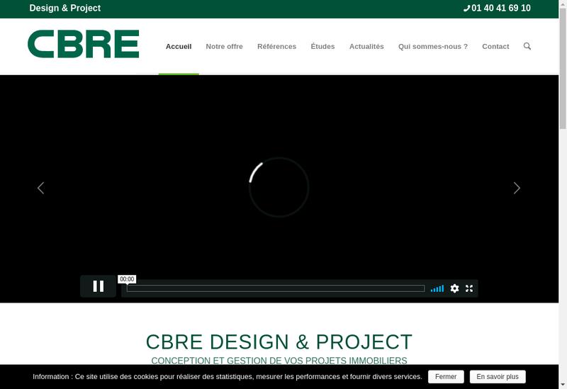 Capture d'écran du site de Cbre Design & Project