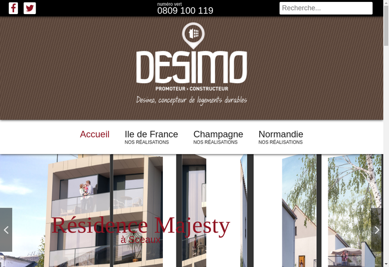 Capture d'écran du site de Desimo