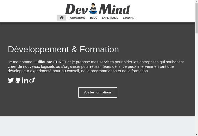 Capture d'écran du site de Dev-Mind