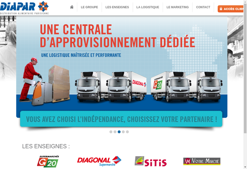 Capture d'écran du site de Distribution Alimentaire Parisienne