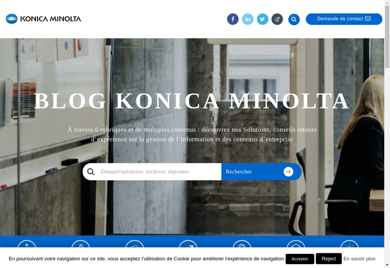 Capture d'écran du site de Konica Minolta