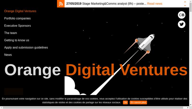 Capture d'écran du site de Orange Digital Ventures Support