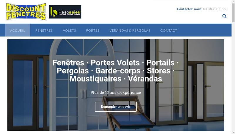 Capture d'écran du site de Discount Fenetre