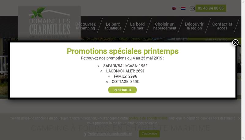 Capture d'écran du site de Domaine les Charmilles