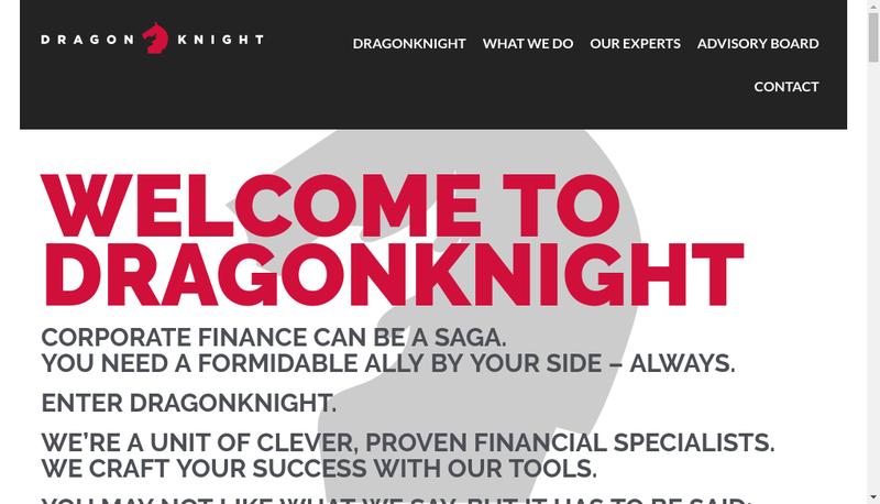 Capture d'écran du site de Dragonknight Advisors