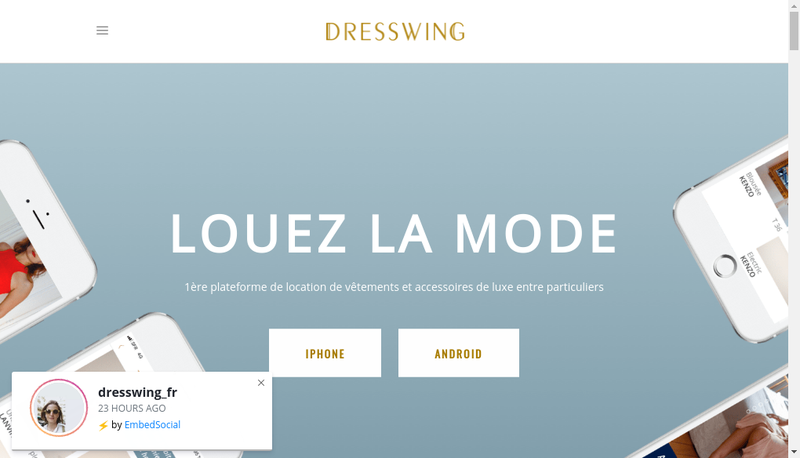 Capture d'écran du site de Dresswing