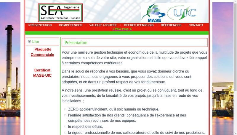 Capture d'écran du site de Sea Ingenierie