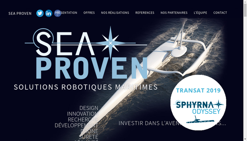 Capture d'écran du site de Sea Proven