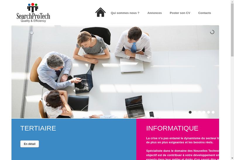 Capture d'écran du site de Searchprotech